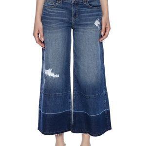 Sneak Peek Distressed Gaucho Cropped Jeans